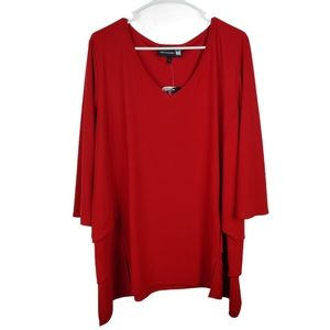 Antthony Originals V Neck Tiered Blouse Top Layers